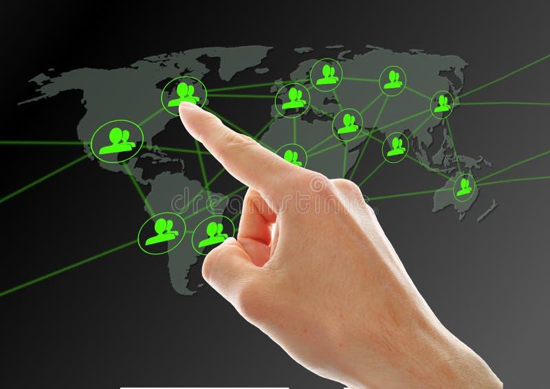 Bouton social de réseau de pressurage à la main photo libre de droits