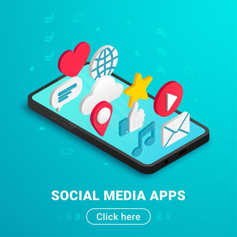 Bouton social isométrique des textes de concept de médias illustration libre de droits