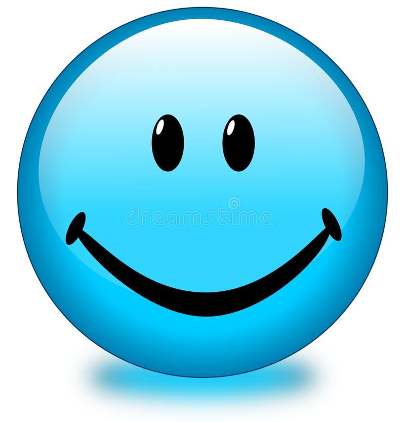 Bouton souriant bleu de visage illustration stock