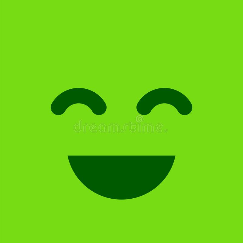 Bouton souriant carré vert Émotion et satisfaction positives SI illustration libre de droits