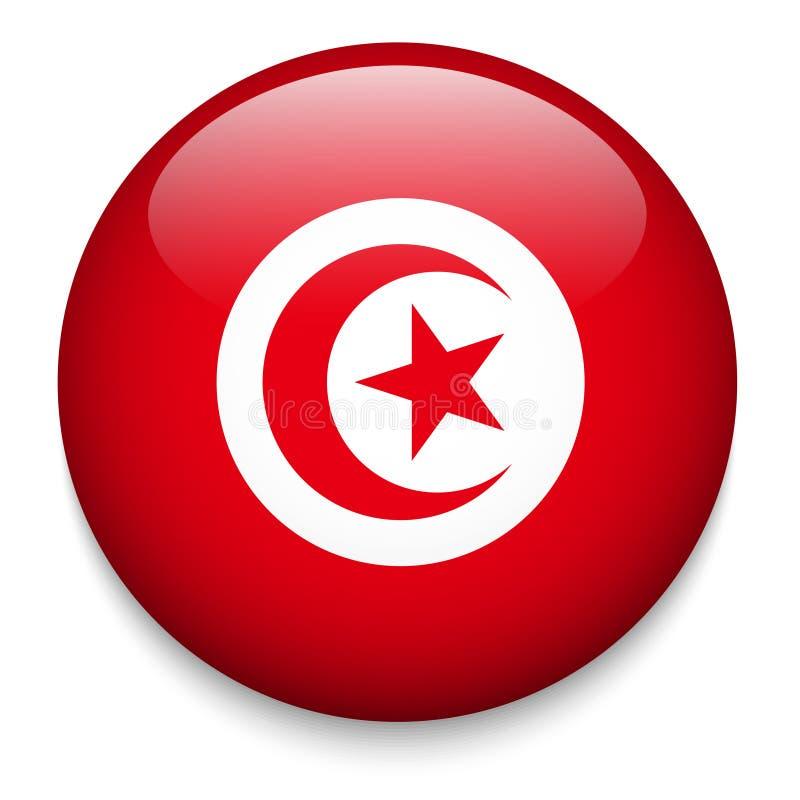 Bouton TUNISIEN de drapeau illustration libre de droits