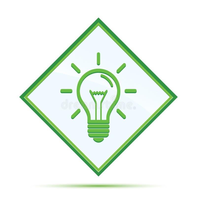 Bouton vert abstrait moderne de diamant d'icône d'ampoule illustration stock