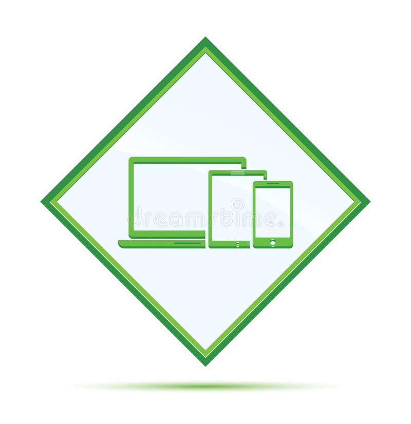 Bouton vert abstrait moderne de diamant d'icône futée de dispositifs de Digital illustration stock