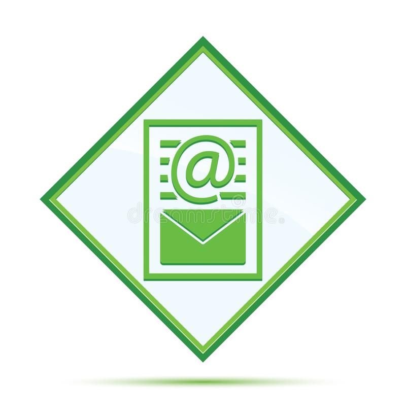 Bouton vert abstrait moderne de diamant d'icône de page de document de bulletin d'information illustration libre de droits