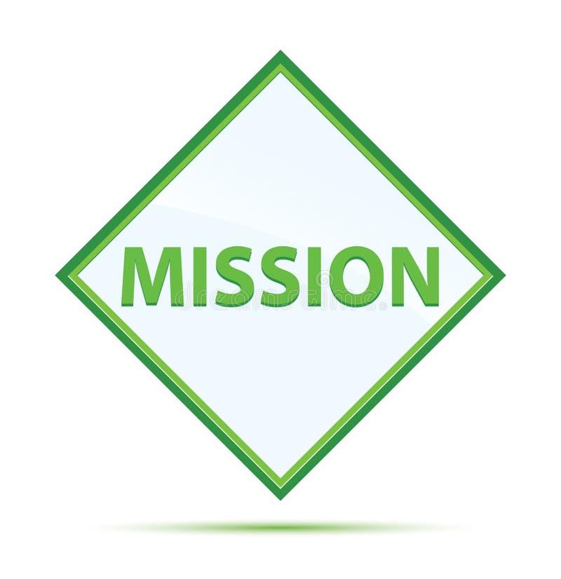 Bouton vert abstrait moderne de diamant de mission illustration stock