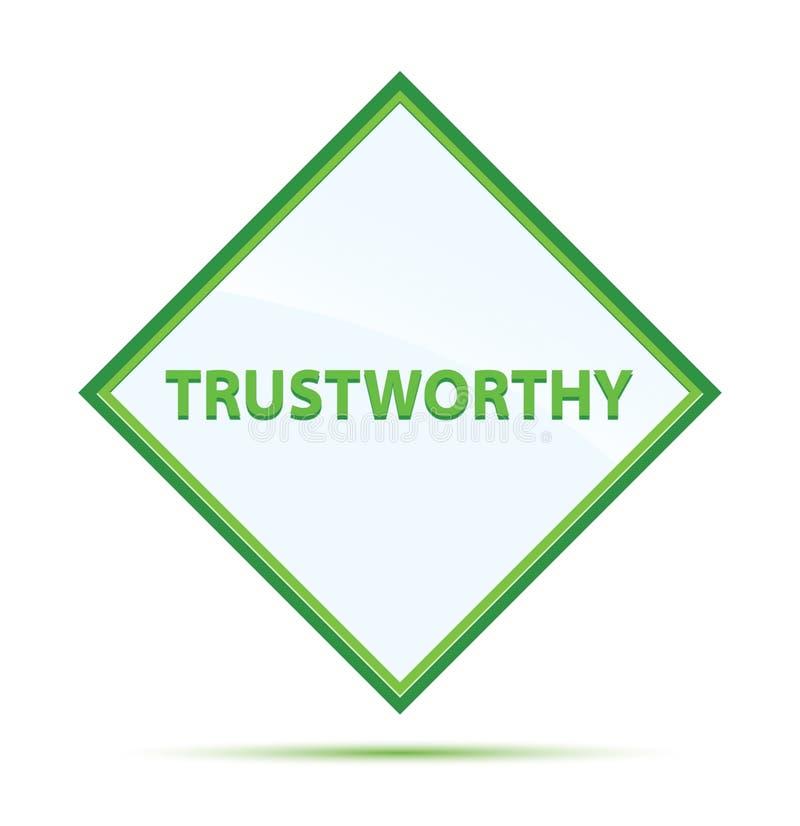 Bouton vert abstrait moderne digne de confiance de diamant illustration libre de droits