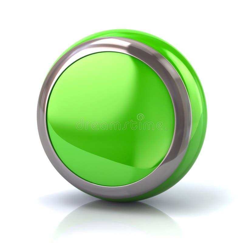Bouton vert rond avec l'illustration du borde 3d en métal illustration de vecteur