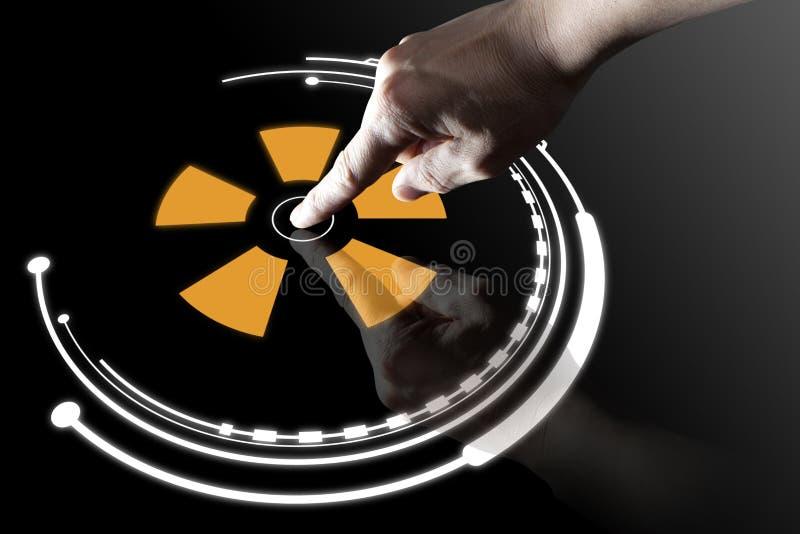 Bouton virtuel de contact de doigt images stock