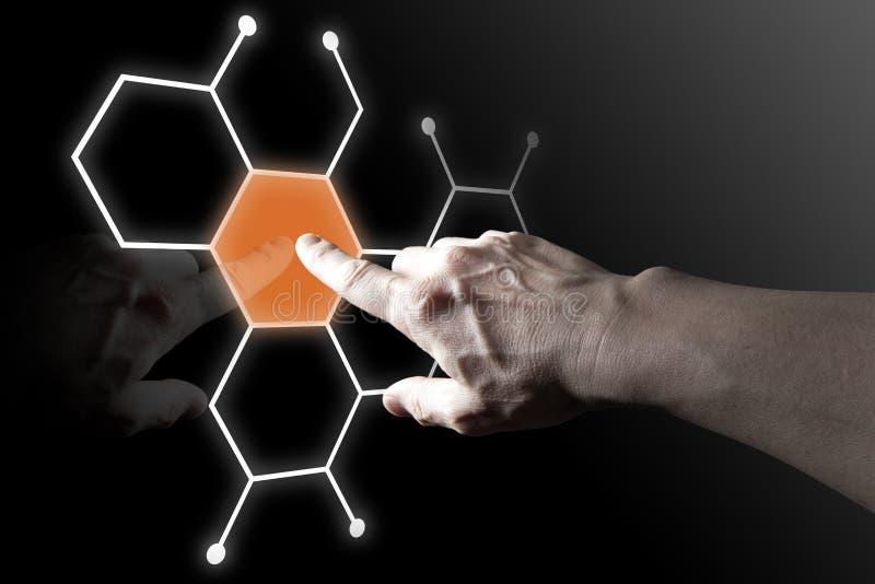 Bouton virtuel de contact de doigt illustration de vecteur