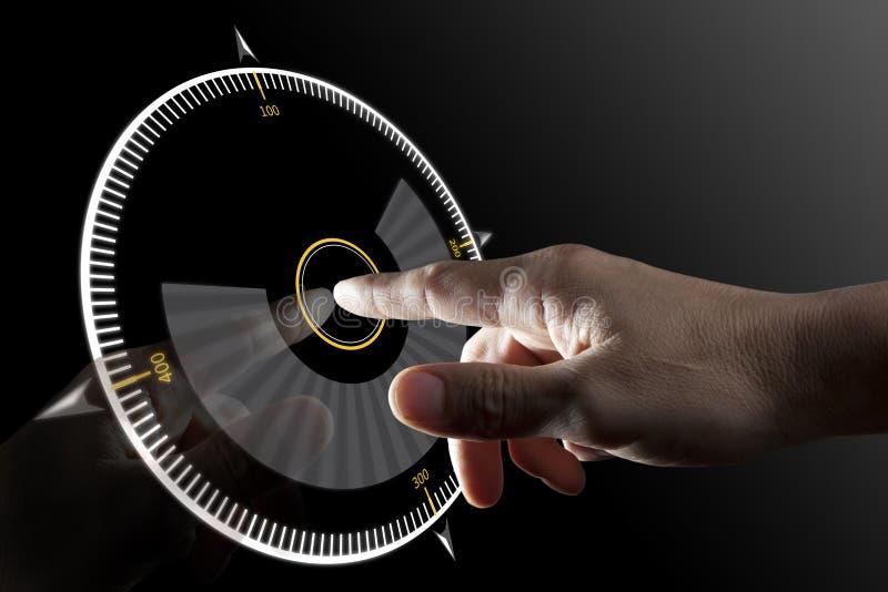 Bouton virtuel de contact de doigt photos libres de droits