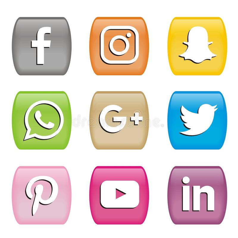 Boutonne des icônes des logos sociaux de media illustration de vecteur