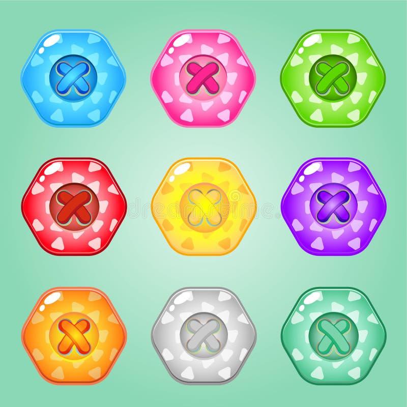 Boutonne l'hexagone de l'ensemble de couleurs lumineux d'habillement Brillant mignon de collection dans diff?rentes couleurs illustration stock