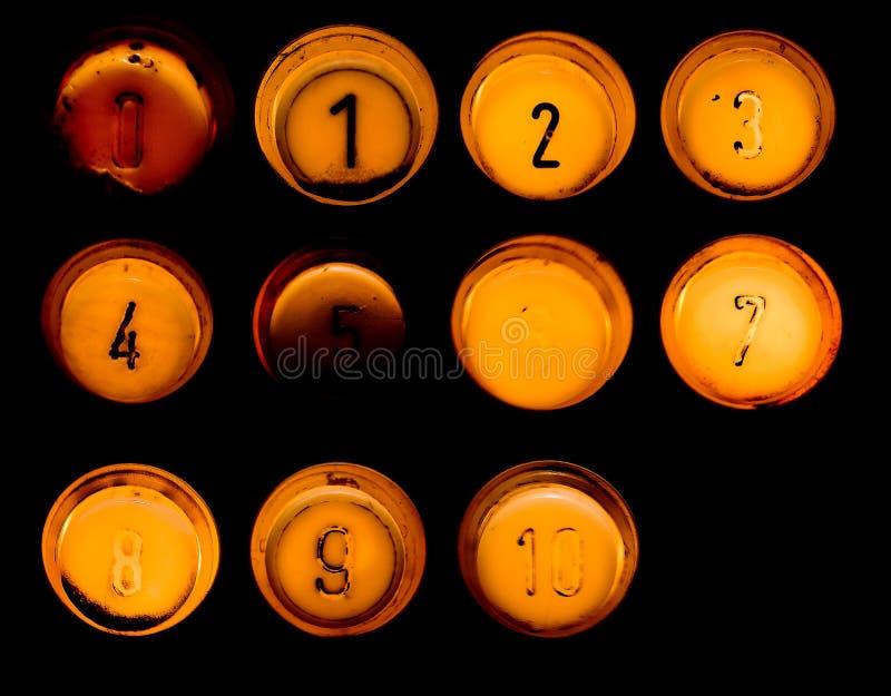 boutonne le vieux positionnement dix d'ascenseur image stock
