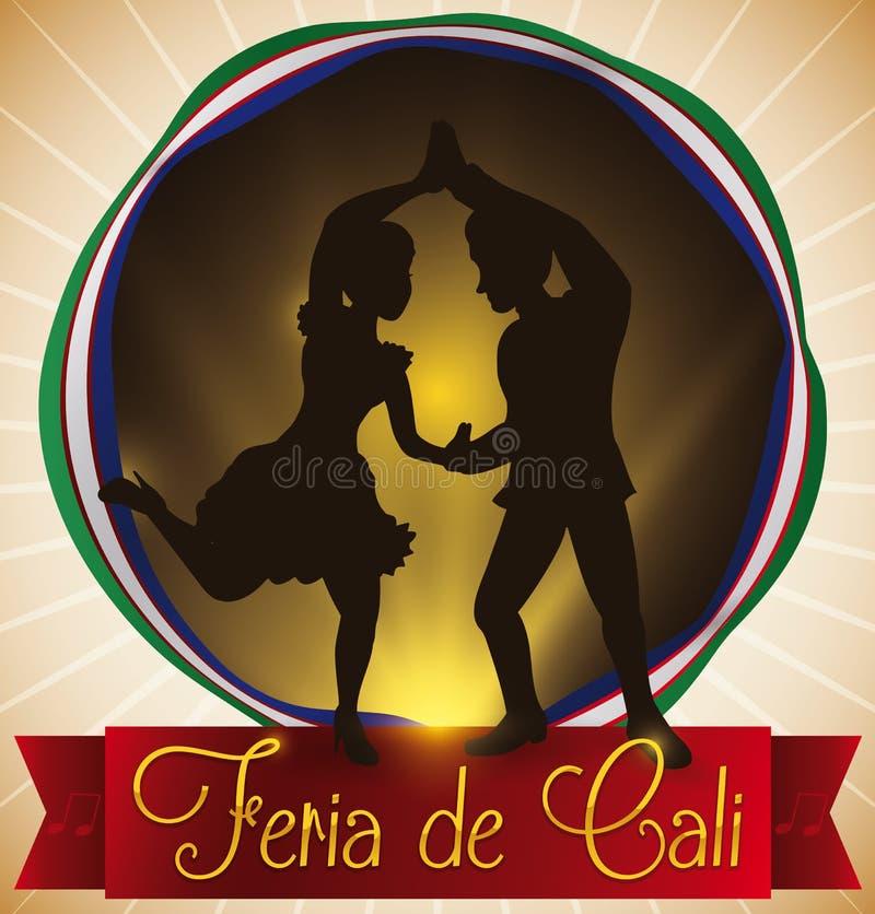 Boutonnez avec la silhouette et le ruban de danseurs de Salsa pour le ` juste s Cali, illustration de vecteur illustration libre de droits
