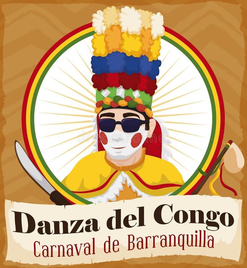 Boutonnez avec le danseur du Congo et le représentant Elements pour le carnaval du ` s de Barranquilla, illustration de vecteur illustration de vecteur