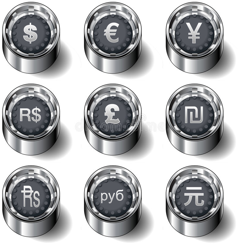 boutonnez le vecteur réglé d'international de devise illustration libre de droits