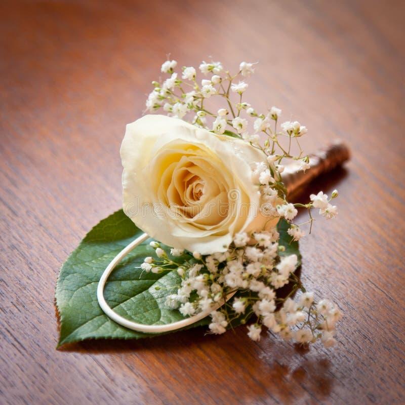 Boutonnière Rose de mariage image libre de droits