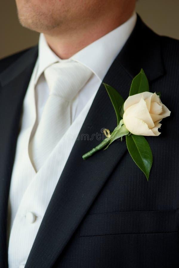 Boutonniere da portare dello sposo   fotografie stock libere da diritti