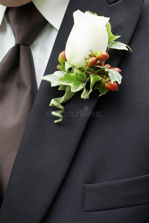 Boutonniere de la boda fotos de archivo