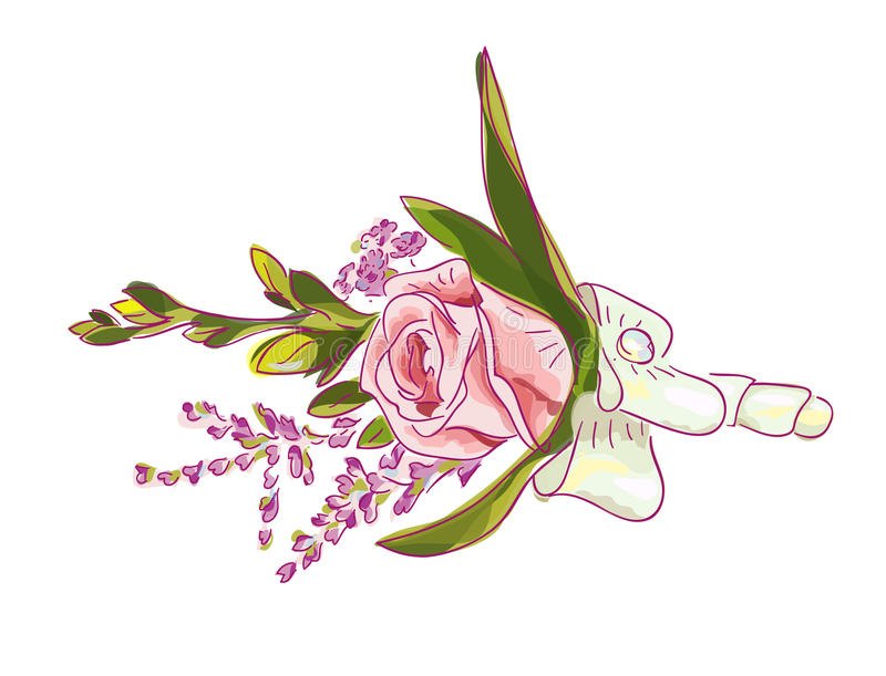 Boutonniere with a pink rose. Boutonniere with a pink rose, meadow flowers and bow royalty free illustration