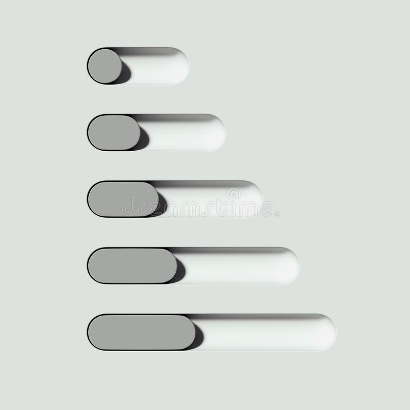 Boutons à bascule blancs et gris sur le fond clair rendu 3d illustration stock