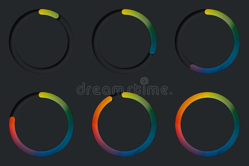Boutons à bascule ronds multicolores réalistes sur le fond noir rendu 3d illustration libre de droits