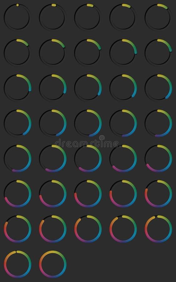 Boutons à bascule ronds multicolores réalistes sur le fond noir rendu 3d illustration stock
