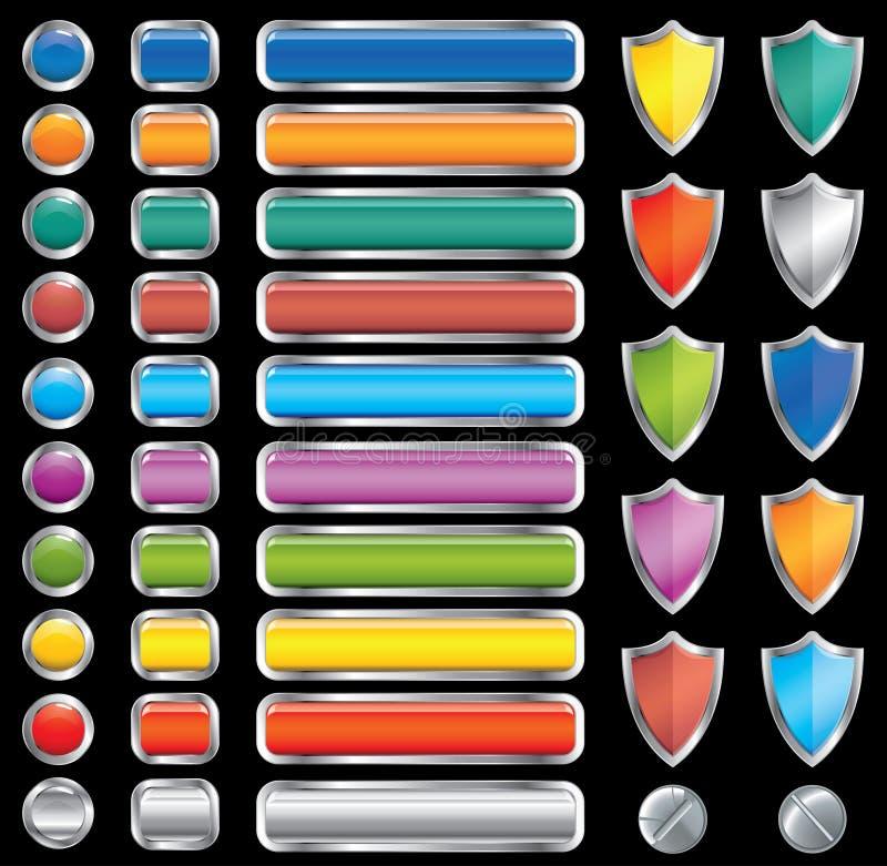 Boutons, écrans protecteurs et vis réglés (, CMYK) illustration stock