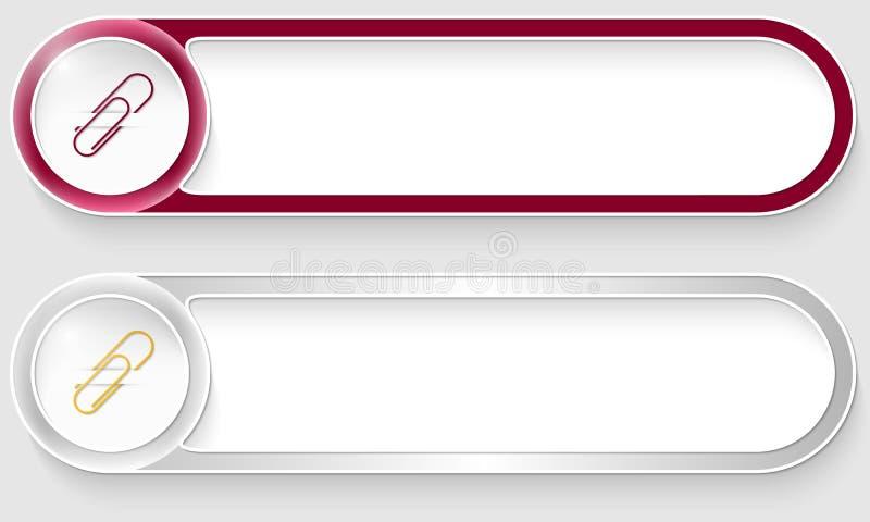 Boutons abstraits de vecteur avec le trombone illustration libre de droits