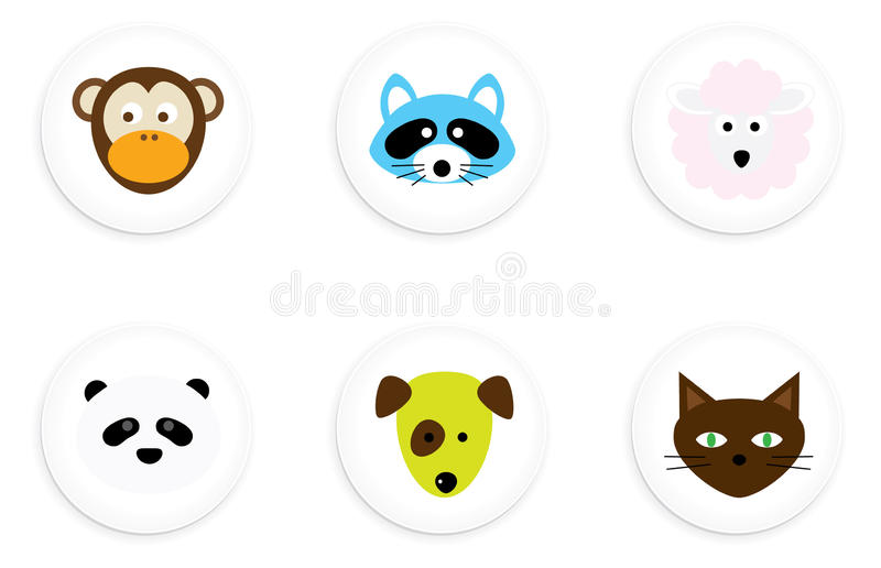 Boutons animaux illustration stock