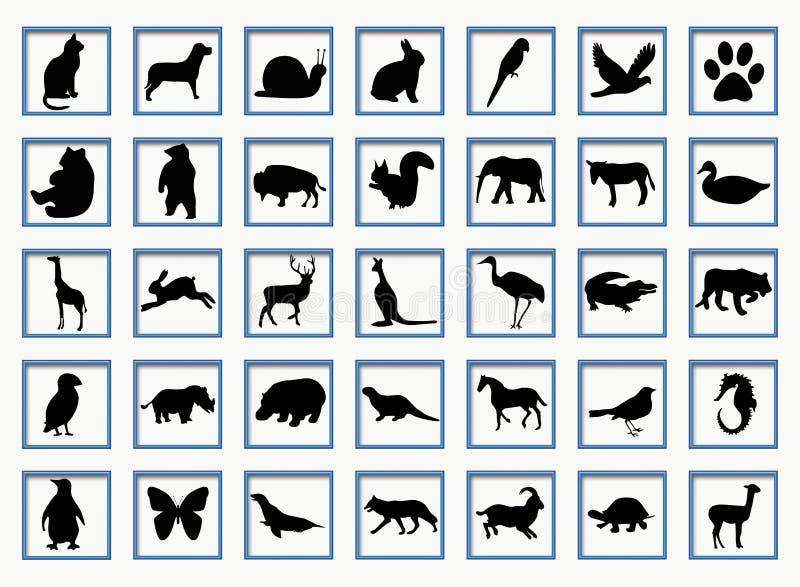Boutons avec des animaux illustration libre de droits