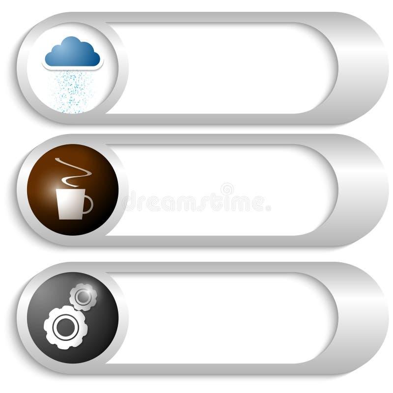 Boutons avec des icônes illustration de vecteur
