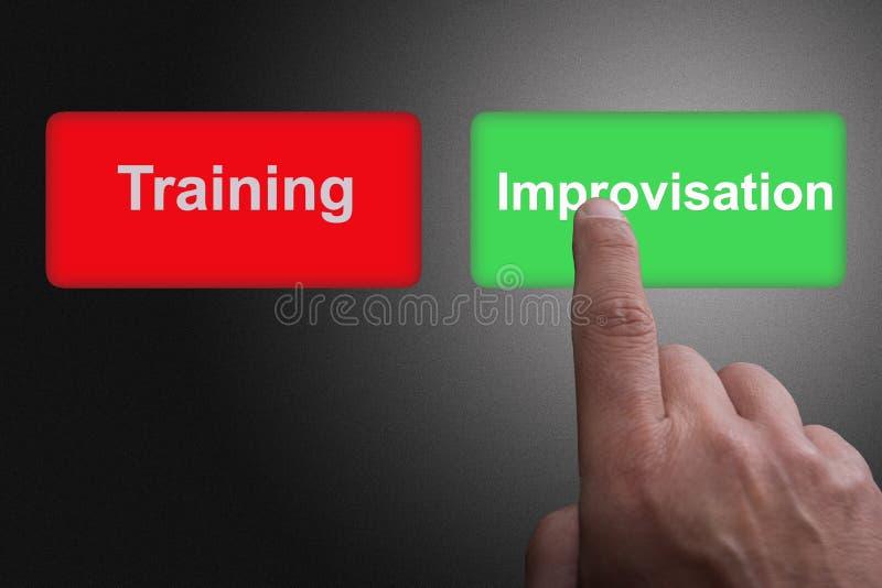 Boutons avec la formation et l'improvisation et le doigt écrits de pointage, sur un fond gris de gradient illustration stock