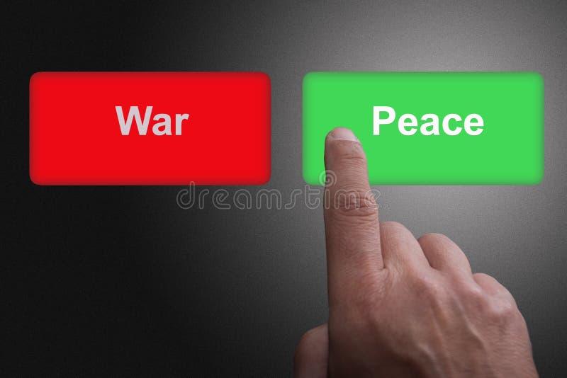 Boutons avec la guerre et la paix et le doigt écrits de pointage, sur un fond gris de gradient images libres de droits