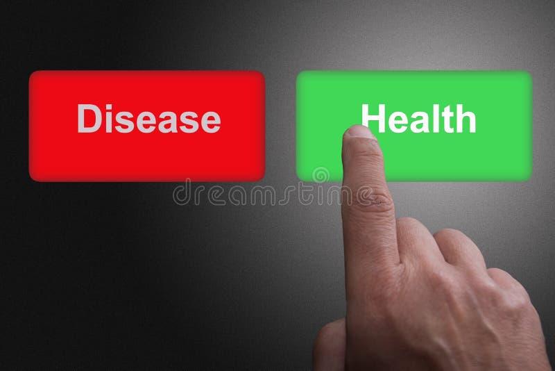 Boutons avec la maladie et la santé et le doigt écrits de pointage, sur un fond gris de gradient illustration stock