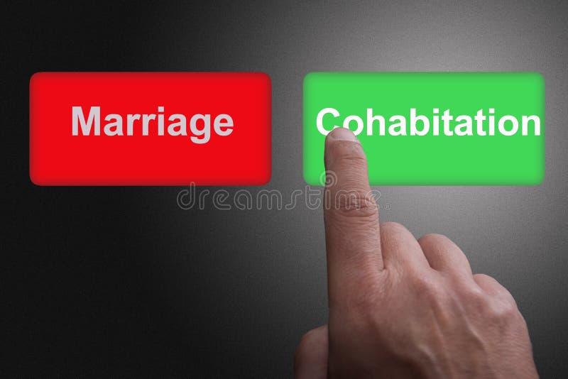 Boutons avec le mariage et la cohabitation et le doigt écrits de pointage, sur un fond gris de gradient illustration stock