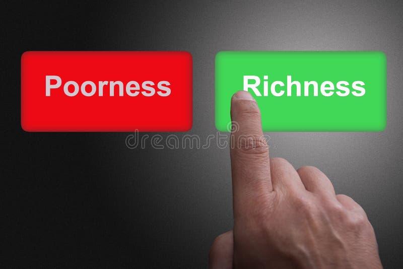 Boutons avec le Poorness et la richesse et le doigt écrits de pointage, sur un fond gris de gradient photo stock