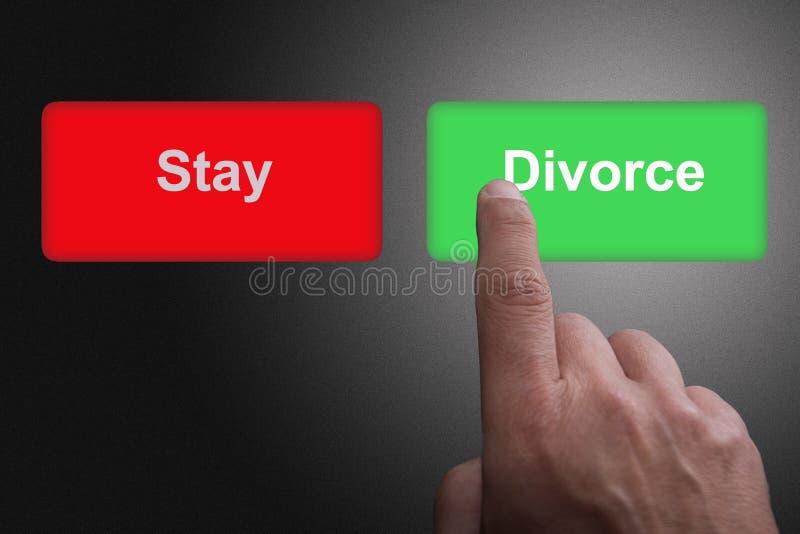 Boutons avec le séjour et le divorce et le doigt écrits de pointage, sur un fond gris de gradient photos libres de droits