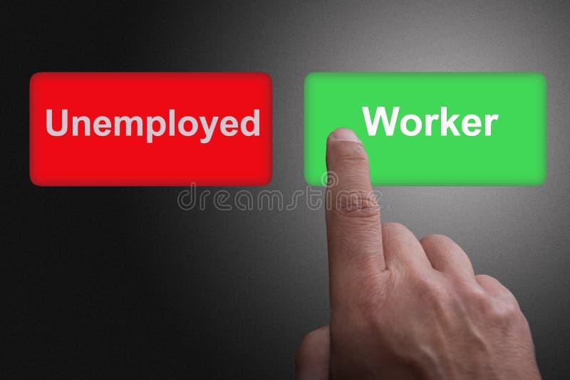 Boutons avec les ch?meurs et le travailleur et le doigt ?crits de pointage, sur un fond gris de gradient photo stock