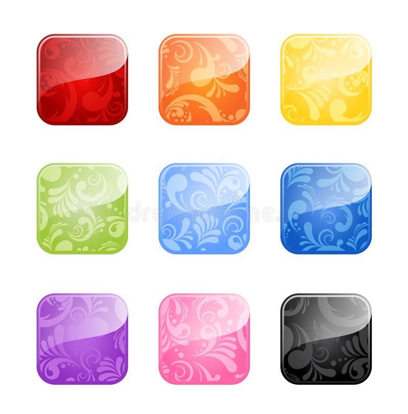 Boutons blanc lustrés dans des variations de couleur illustration stock