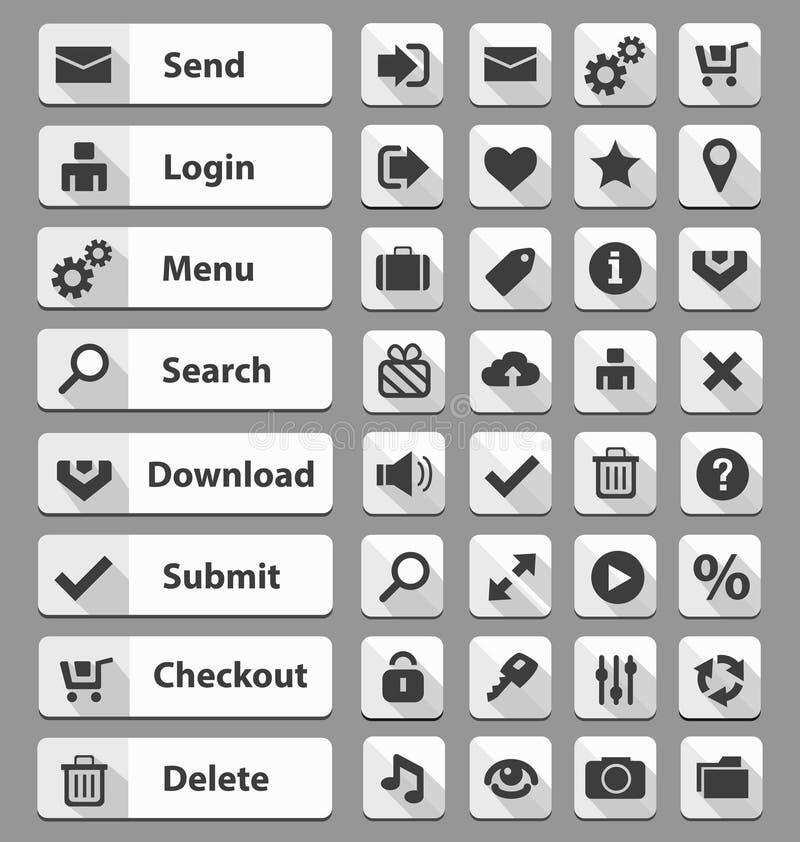 Boutons blancs de web design réglés illustration de vecteur