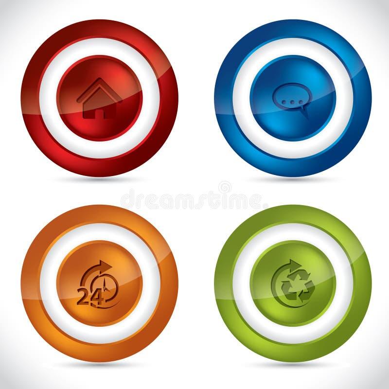 Boutons brillants avec de diverses icônes illustration stock
