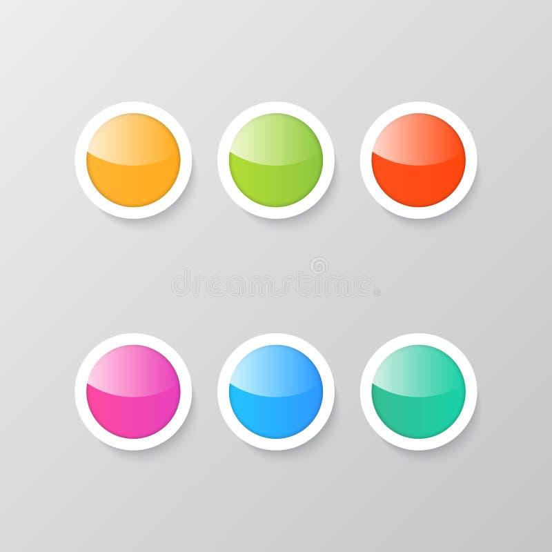 Boutons brillants colorés sur un fond gris illustration stock