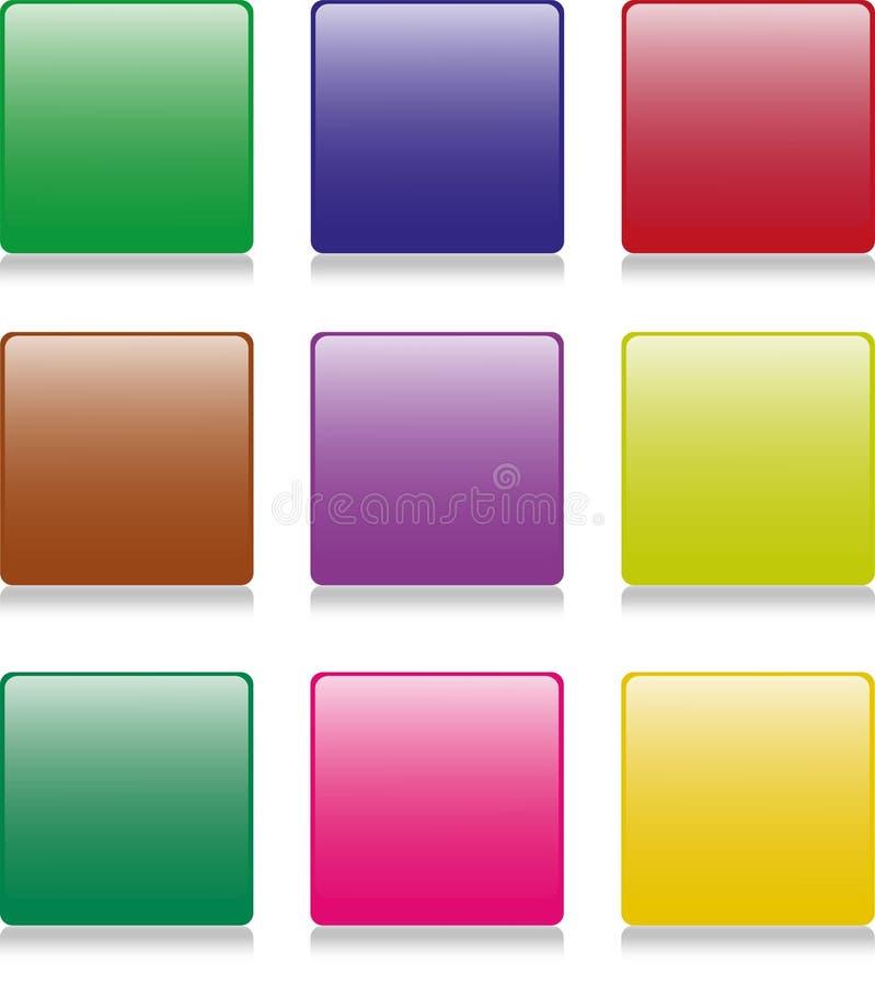 9 boutons carrés illustration libre de droits