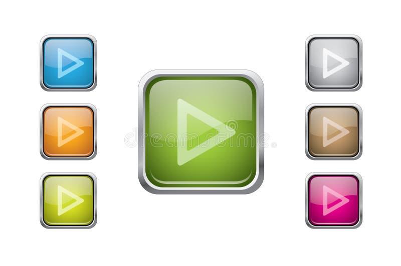 Boutons carrés arrondis lustrés multicolores de vecteur illustration stock
