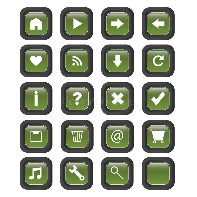 Boutons carrés de Web - vecteur illustration de vecteur