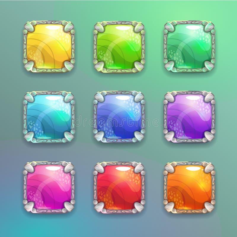 Boutons carrés en cristal de belle bande dessinée colorée réglés illustration de vecteur