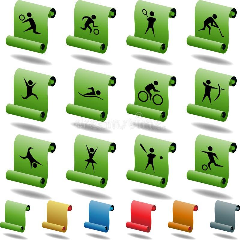 Boutons carrés sportifs - défilement illustration libre de droits