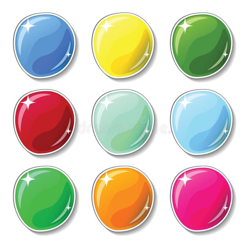 Boutons colorés brillants avec l'effet extérieur en verre Les boutons vides ont placé pour le graphique de web design ou de jeu illustration de vecteur