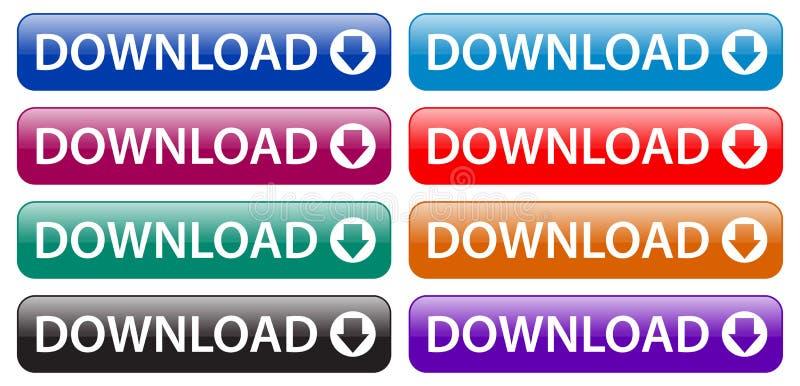Boutons colorés d'icônes de bouton de Web de téléchargement illustration stock